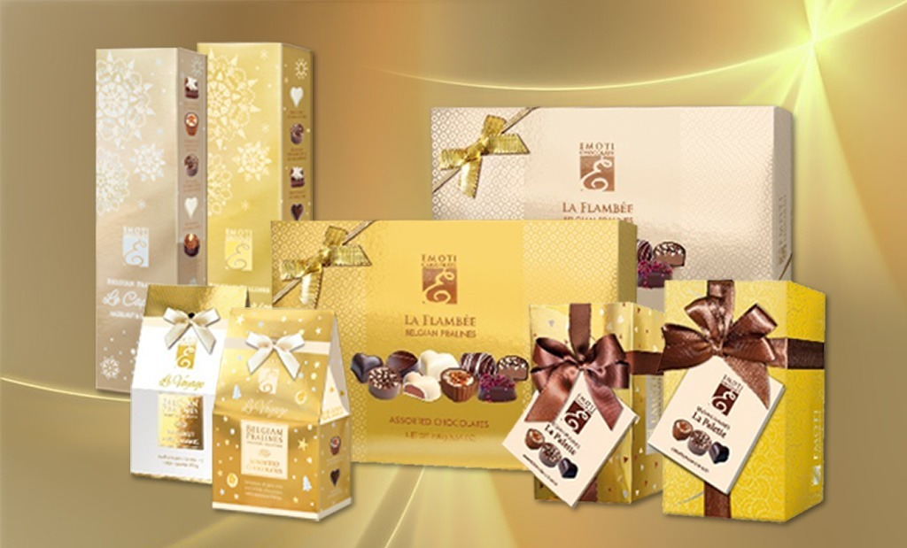 Belgian chocolates at the Gold Gift boxes